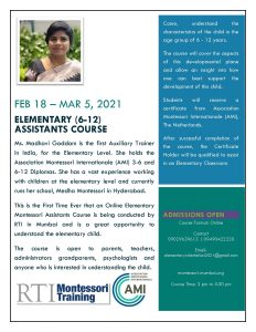 RTI Montessori Training Flyer EAC 2021