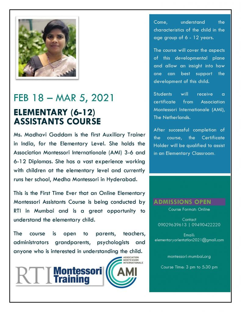 RTI Montessori Training Flyer EAC 2021