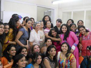 Zarin Aunty and Suneeta Aunty with the students