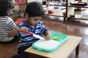 Montessori School Mumbai - Practical Life Cutting